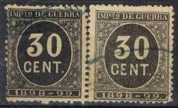 Sellos 30 Cts Impuesto De Guerra 1898, VARIEDAD De Color º - Impuestos De Guerra
