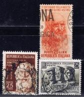 I+ Italien 1952 Mi 860 872 875 Leonardo, Gemito, Armee - 1946-60: Usati