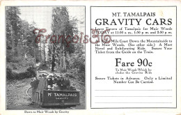 California - Mt. Tamalpais Gravitiy Cars - Down To Muir Woods By Gravity - 2 SCANS - United States