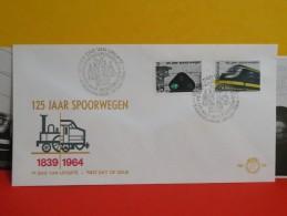 Néderland FDC, 125 Jaar Spoorwegen 1839/1964, 24 Juli 1964, 125 Ans Chemins De Fer 1839/1964, 24 Juillet 1964 - FDC