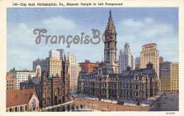 Pennsylvania - City Hall - Marsonic Temple In Left Foreground - Philadelphia - 2 SCANS - Philadelphia