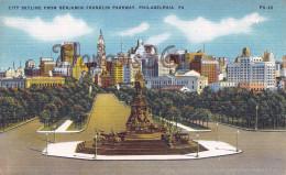 Pennsylvania - City Skyline From Benjamin Franklin Parkway - Philadelphia - 2 SCANS - Philadelphia