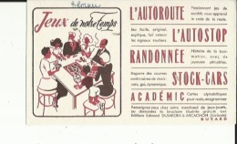 Buvard  (LES JEUX DE NOTRE TEMPS--L´Autoroute-L´Auto-Stop-Randonnée-Stock-Cars_Academic) - Buvards, Protège-cahiers Illustrés