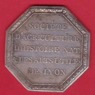 France Médaille Lyon Société D'Agriculture, D'Histoire Naturelle - Argent - XVIIIe - Professionnels / De Société