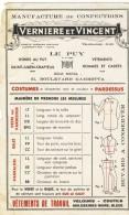 Buvard Publicite # Manufacture Confections Verniere Et Vincent Le Puy En Velay # - M