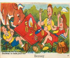 27 BERNAY Carte à Système 10 Petites Vues Sous La Table     2 Scans - Bernay