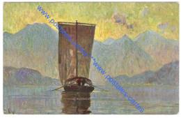 ITALIE Cartolina Illustrata Di Una Barca Da Trasporto Sul Lago Di Como - Como