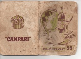 "PETIT CALENDRIER PUBLICITAIRE CAMPARI "" MEMOR "" 1959 -  L' AIDE MEMOIRE DE CAMPARI, VOIR SCAN - Calendriers"