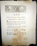 TABAC  LOI RELATIVE A LA FOURNITURE DE TABAC AUX MATELOTS 1790 A TERRE COMME EN MER - Décrets & Lois