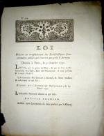 LOI RELATIVE ALA PRESTATION DE SERMENT DES  ECCLESIASTIQUES - Décrets & Lois