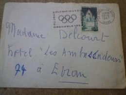 Flamme SECAP  (Grenoble-Gare) ----->JEUX OLYMPIQUES 1968 Sur Lettre 0,70 Tour De César - Provins - Marcophilie (Lettres)