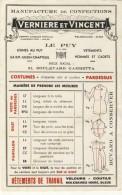 Buvard Publicite # Manufacture Confections Verniere Et Vincent Le Puy En Velay # - Carte Assorbenti