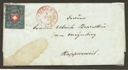 Schweiz, 1851, Rayon I, Dunkelblau, T14, U/LO, Allseitig Vollrandig Auf Faltbrief Nach Rapperswil, Siehe Scans! - Covers & Documents