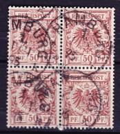 Germany Reichspost 1889 Mi. 50  Reichsadler Im Kreis 4-Block HAMBURG !! - Blocks & Kleinbögen