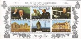 E)1974 ANGUILLA,CHURCHILL MAKING VICTORY SIGN, US BRITISH FLAG, PALIAMENT, SOUVENIR SHEET, MNH - Anguilla (1968-...)