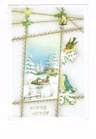 Carte Fantaisie Bonne Année - Attelage Cheval Traîneau - Lanterne Oiseau - Edug Paris - New Year