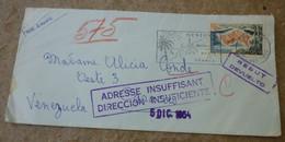 "1964, France (Menton) -----> CARACAS, Venezuela "" DIRECCION INSUFICIENTE "" ----> REBUT. - Postmark Collection (Covers)"