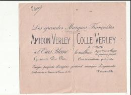 Buvard G F 21 X 24  ( AMIDON VERLEY__COLLE VERLEY A Froid A L'Ours Blanc-Amidonnerie-Rizerie De France A Marquette-les-L - L