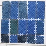 Meccano, Lot De 15 Plaques Bleues Quadrillées. 5 X (6,3X6,3), 5 X ( 11,3 X 6,3 ), 5 X ( 13,8 X 6,3). - Meccano