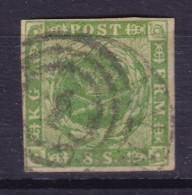 "Denmark 1854 Mi. 5     8 Sk. Kroninsignien Im Lobeeerkranz Nummer Stempel ""1"" KØBENHAVN (2 Scans) - Oblitérés"