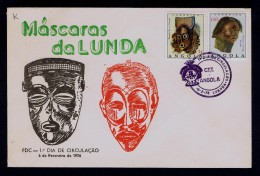 Masks Mascaras Cultures Fdc LUNDA Region Cover Angola 1976 Portugal Sp3990 - Costumes