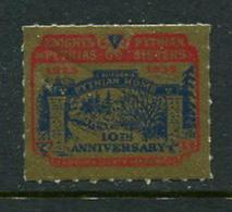 "1935 Knights Of Pythias Pythian Sisters 10th Anniversary Poster Stamp Vignette Reklamemarke Hinged 1 1/4 X 1"" - Cinderellas"