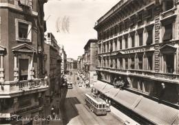 CT--N--01688--  TRIESTE - CORSO ITALIA - FILOBUS AUTO EPOCA - VIAGGIATA 1957 - BIANCO E NERO - Trieste