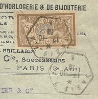 Paris Pour Carouge (Suisse). Merson YT120 Sur Lettre Recommandée. Cachet Hexagonal. Fournitures Horlogerie - Marcofilie (Brieven)