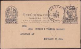 1907-EP-23 CUBA REPUBLICA. 1907. POSTAL STATIONERY. Ed.72. 2c. TARJETA CESPEDES. JIGUANI. 1919. - Lettres & Documents