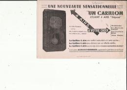 Buvard G F_des Ets ROMANET  MORBIER 39   Une Nouveauté_ Carillon Jouant 4 Airs - H