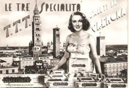 CT--N--01709--  CREMONA-LE TRE SPECIALITA- T.T.T.-SALUTI DA CREMONA-PUBBLICITA TORRONE SPERLARI  VIAGGIATA - Cremona