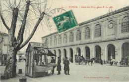 30 - NIMES - GARD - GARE DES VOYAGEURS - CPA ANIMEE  - VOIR SCANS - Nîmes