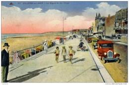 14 -  Villers Sur Mer -La Digue Et Les Villas-voitures- Années 1930 Couleur - Villers Sur Mer