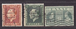 GRECE -  -Perforé-Perfin-Perforés-Perfins-  Lot : 4  - - Grèce