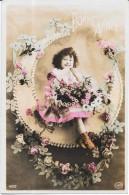 CPA COLORISEE FETE - BONNE ANNEE - Adorable Petite Fille  Entourée De Fleurs - ENCH22 - - Nouvel An