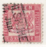 GERMAN STATES - BADEN - 1862 - Mi 18 - 3 KREUZER - COAT OF ARMS - Baden