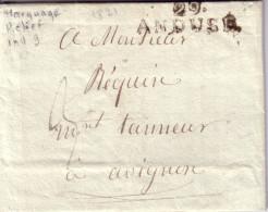 GARD - 29 ANDUSE - LE 29-10-1821 - TAXE MANUSCRITE 3 POUR AVIGNON - LETTRE AVEC TEXTE . - Marcophilie (Lettres)