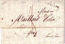 GARD - 29 ST GILLES - LE 11-03-1824 - TAXE MANUSCRITE 8 POUR GRAY HAUTE SAONE - LETTRE AVEC TEXTE . - Marcophilie (Lettres)