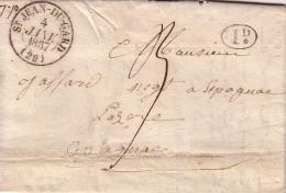 GARD - ST JEAN DU GARD - T13 LE 4-1-1837 - TAXE MANUSCRITE 9 - DECIME RURAL NOIR - LETTRE AVEC TEXTE - DECHIRURE D'OUVER - Marcophilie (Lettres)