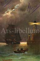 Postcard / CP / Artist / Alfred J (?) / Ship / Lighthouse / Ed. T.S.N. / Serie 709 / 1907 - Illustrateurs & Photographes