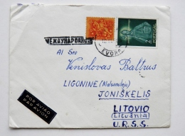 Cover From Portugal To Lithuania On 1959 Sao Teotonio - 1910-... República