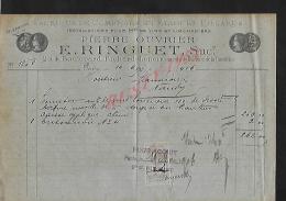 FACTURE ILLUSTRÉE DE 1906 : PARIS BOULEVARD RICHARD LENOIR E. RINGUET FABRIQUE DE COMPTOIRS EN ETAIN & BILLARDS : - Petits Métiers
