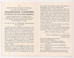 DP Magdalena VANDORPE - Biesbrouck - Ingelmunster - Rollegem-Kapelle - 1896 / 1965 - Esquela