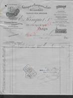 FACTURE ILLUSTRÉE DE 1906 : PARIS RUE LYON E. RINGUET A L ÉLÉPHANT FABRIQUE DE COMPTOIRS EN ÉTAIN & BILLARDS : - Petits Métiers
