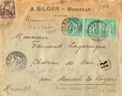TB 1003 - LSC - Lettre Recommandée De MARSEILLE Pour MURVIEL LES BEZIERS Via TARASCON - SETE Spécial - Marcophilie (Lettres)