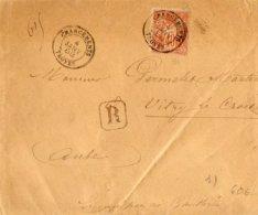 TB 1004 - LSC - Lettre Recommandée MP Chargements TROYES Pour VITRE LE CROISE ( Cachet Perlé Au Dos ) - Marcophilie (Lettres)