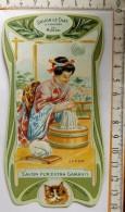 Chromo Calendrier 1905 /  SAVON LE CHAT à Travers Le Monde / Japon / Femme Lingère / Style Art Nouveau - Chromos