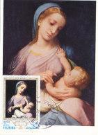 D23193 CARTE MAXIMUM CARD 1972 FUJEIRA - MADONNA AND CHILD BY CORREGGIO CP ORIGINAL - Madonne