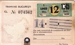 Romania, 1940's, Bucharest Tramway - Vintage Transport Pass, ITB - Rare Cinderella - Otros