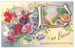 Cpa Fantaisie : Un Baiser De Saint André De Majencoules ( Gard ) - France